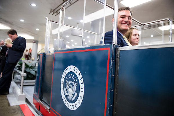 UNITED STATES - APRIL 24: Rep. Luke Messer, R-Ind., rides the Senate subway to the Russell Senate Office building on Tuesday, April 24, 2018. (Photo By Bill Clark/CQ Roll Call)