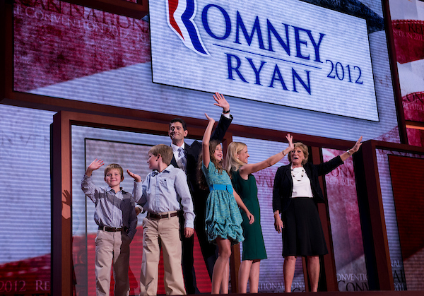 Ryan appears on stage with his wife Janna, mother Betty, and kids, Sam, Charlie, and Liza, after the congressman addressed  the Republican National Convention in the Tampa Bay Times Forum. (Tom Williams/CQ Roll Call file photo)