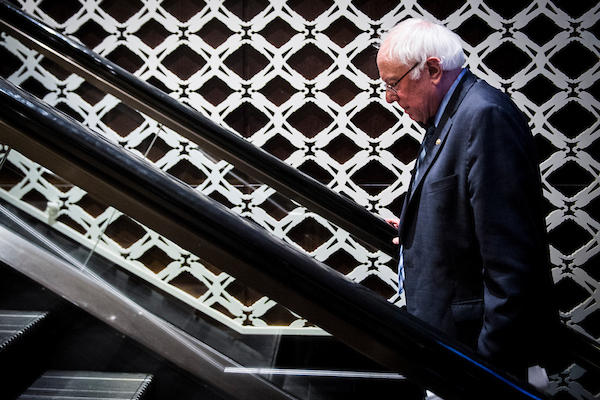 MAY 15: Sen. Bernie Sanders (D-VT) exits the Center for American Progress 'Ideas' conference Tuesday May 15, 2018. (Photo by Sarah Silbiger/CQ Roll Call)