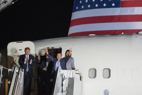 UNITED STATES - MAY 10: Early Thursday morning President Donald Trump and First Lady Melania Trump greeted freed American detainees from North Korea on the tarmac of Andrews Air Base May 10, 2018. (Photo By Sarah Silbiger/CQ Roll Call)