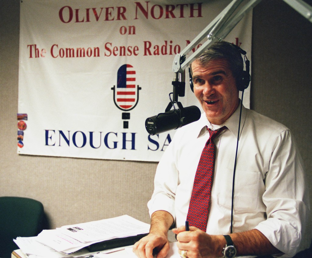 01/28/98.OLLIE NORTH RADIO SHOW--Oliver North during his show the day after President Clinton's State of the Union Address..CONGRESSIONAL QUARTERLY PHOTO BY SCOTT J. FERRELL.