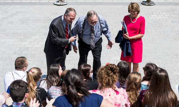 UNITED STATES - MAY 9: The entire Alaska congressional delegation, from left, Sen. Dan Sullivan, R-Alaska, Rep. Don Young, R-Alaska, and Sen. Lisa Murkowski, R-Ark., speak to a group of Close Up program students from Alaska on the House steps on Wednesday, May 9, 2018. (Photo By Bill Clark/CQ Roll Call)