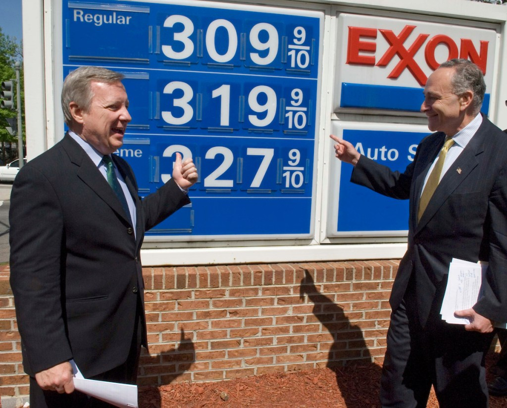 04/26/06--Senate Assistant Minority Leader Richard J. Durbin, D-Ill., and Sen. Charles E. Schumer, D-N.Y., after a news conference at the Congressional Exxon near the U.S. Capitol, to