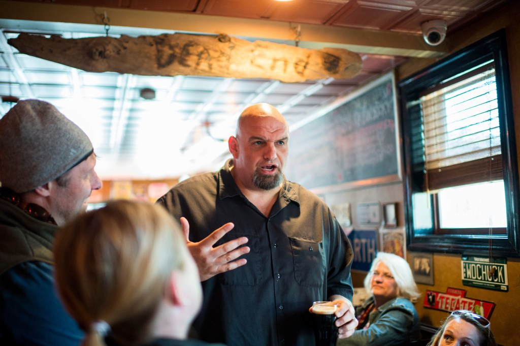 Braddock, Pa. Mayor John Fetterman speaks with supporters in 2016 during his unsuccessful run for the Senate at the Interstate Drafthouse in Philadelphia. (Bill Clark/CQ Roll Call)