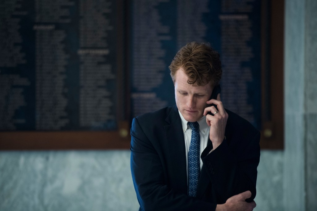 UNITED STATES - MAY 17: Rep. Joe Kennedy, D-Mass., talks on the phone in Rayburn Building on May 17, 2018. (Photo By Tom Williams/CQ Roll Call)