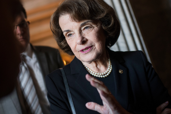 UNITED STATES - MAY 8: Sen. Dianne Feinstein, D-Calif., talks with a reporter before the Senate Democratic Policy luncheon in the Capitol on May 8, 2018. (Photo By Tom Williams/CQ Roll Call)