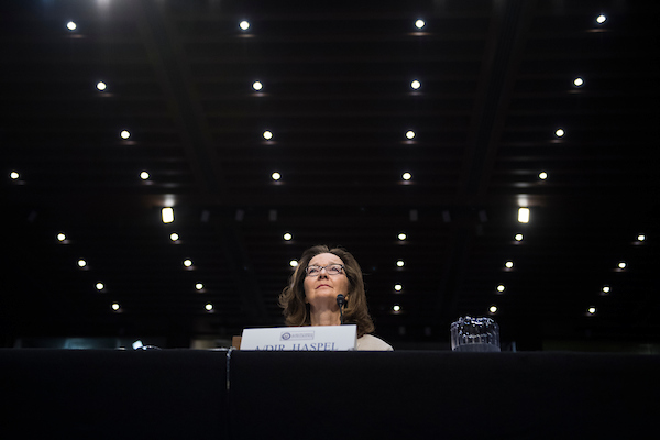 UNITED STATES - MAY 9: Gina Haspel, nominee to be director of the CIA, testifies during her Senate (Select) Intelligence Committee confirmation hearing in Hart Building on May 9, 2018. (Photo By Tom Williams/CQ Roll Call)
