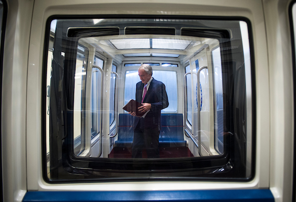 UNITED STATES - June 19: Sen. Ed Markey, D-Mass., rides the Senate subway Tuesday June 19, 2018. (Photo By Sarah Silbiger/CQ Roll Call)