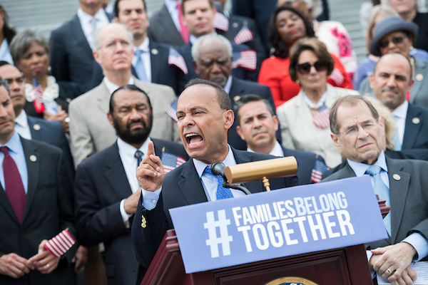 UNITED STATES - JUNE 20: Rep. Luis Gutierrez, D-Ill., and House Democrats hold a rally on the steps of the Capitol to call for passage of