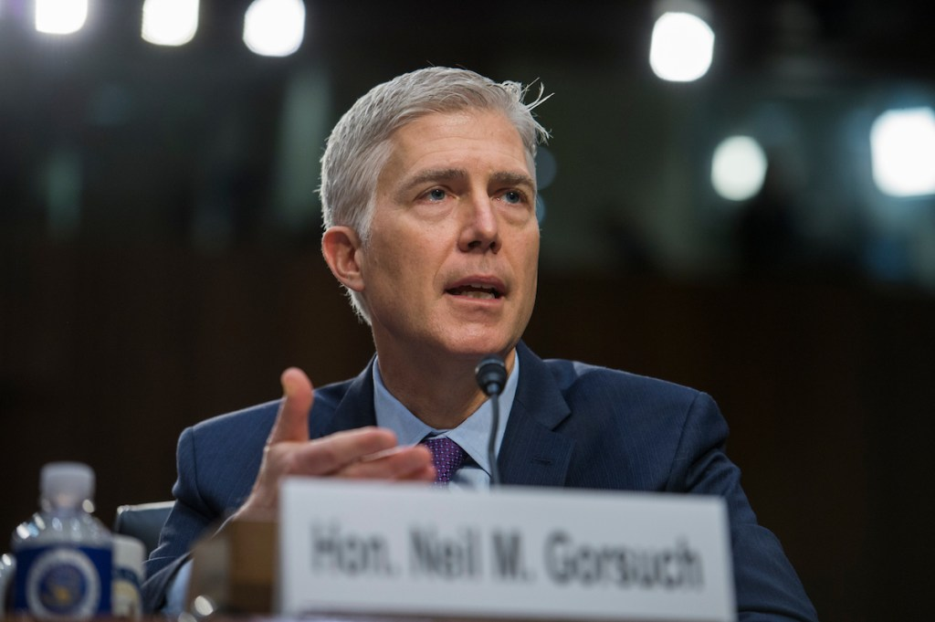 UNITED STATES - MARCH 21: Supreme Court Justice nominee Neil Gorsuch testifies on the second day of his Senate Judiciary Committee confirmation hearing in Hart Building, March 21, 2017. (Photo By Tom Williams/CQ Roll Call)