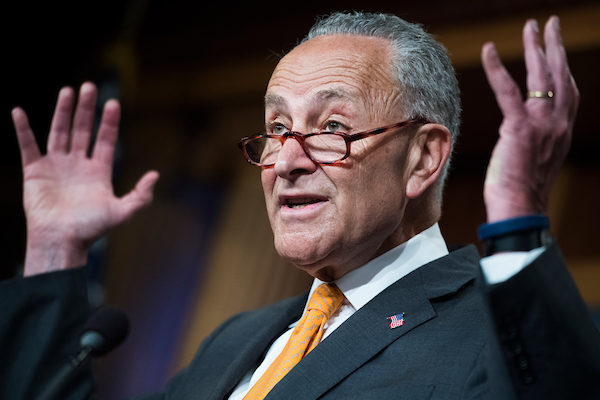 UNITED STATES - JULY 16: Senate Minority Leader Charles Schumer, D-N.Y., conducts a news conference in the Capitol where he criticized President Donald Trump's meeting with Russian President Vladimir Putin on July 16, 2018. (Photo By Tom Williams/CQ Roll Call)