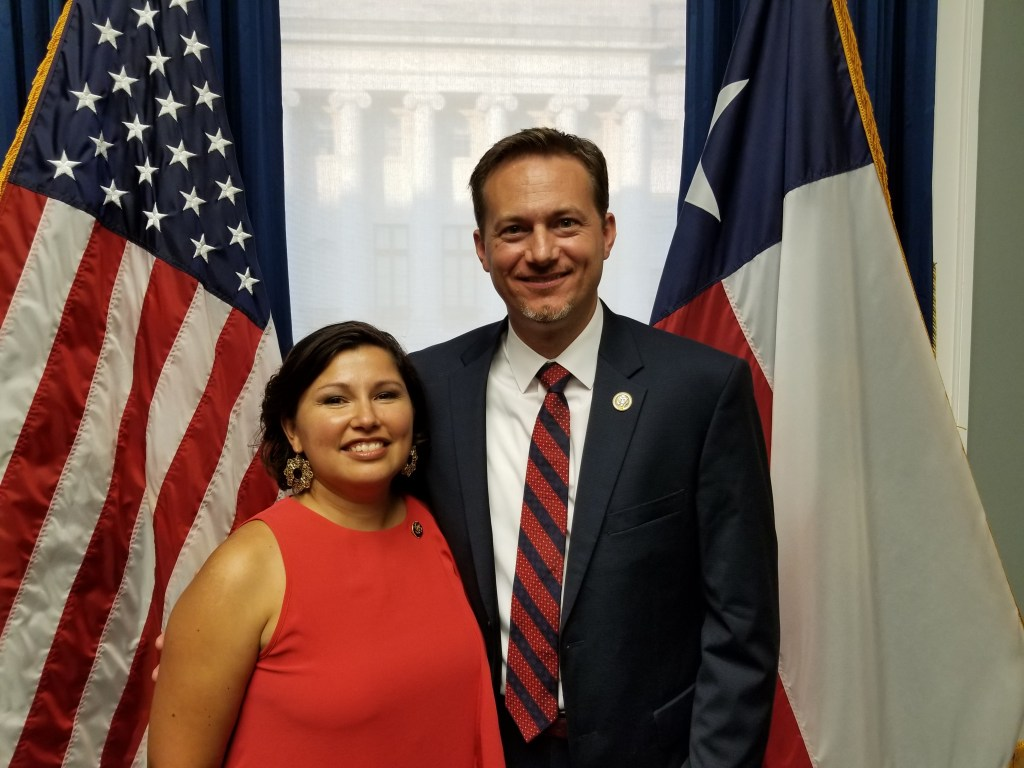 Rep. Michael Cloud, right, and his wife Rosel, left, on his swearing in day. (Courtesy of Cloud)