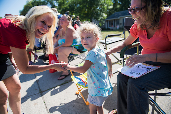 Minnesota Republican Senate candidate Karin Housley attends the Heritage Days parade in Bloomington on Saturday. (Tom Williams/CQ Roll Call)