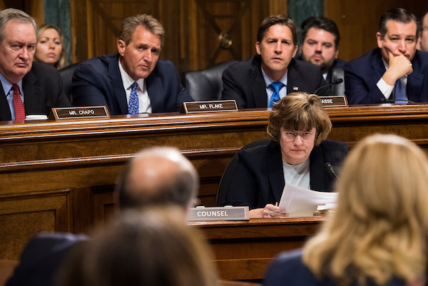 Rachel Mitchell, counsel for Senate Judiciary Committee Republicans, continues her questioning of Christine Blasey Ford, who is testifying to the panel on allegations of sexual assault by Brett Kavanaugh, Supreme Court nominee. (Tom Williams/CQ Roll Call/POOL)