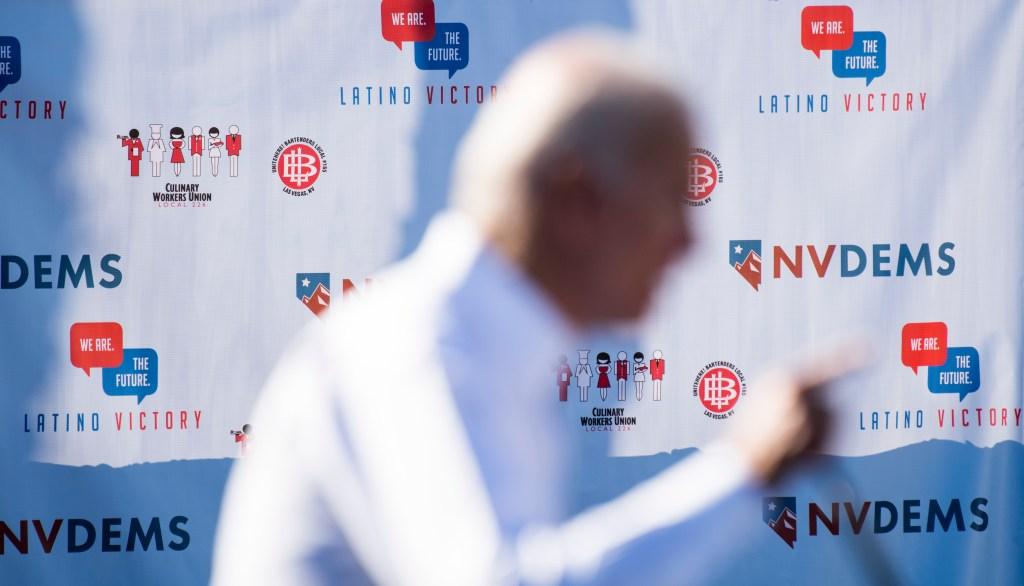 Former Vice President Joe Biden speaks at the Nevada Democrats' early vote rally at the Culinary Workers Union Local 226 in Las Vegas on Saturday, Oct. 20, 2018, the first day of early voting in Nevada. (Photo by Bill Clark/CQ Roll Call)