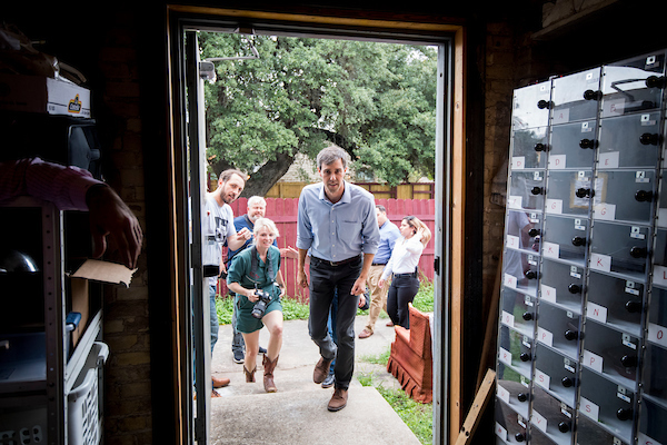 Democratic candidate for U.S. Senate from Texas Rep. Beto O'Rourke arrives backstage for his campaign rally at the Gaslight Baker Theatre in Lockhart, TX on Monday, Oct. 1, 2018. (Photo By Bill Clark/CQ Roll Call)