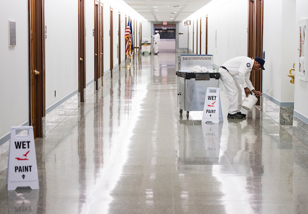UNITED STATES - NOVEMBER 15: Capitol workers paint the 2nf floor hallway of the Dirksen Senate Office Building on Thursday, Nov. 15, 2018. (Photo By Bill Clark/CQ Roll Call)