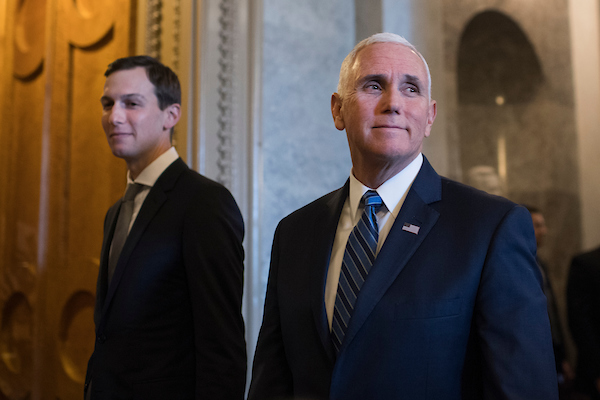 UNITED STATES - NOVEMBER 27: Vice President Mike Pence, right, and White House advisor Jared Kushner, make their way to the Senate Republican policy luncheon in the Capitol on November 27, 2018. (Photo By Tom Williams/CQ Roll Call)
