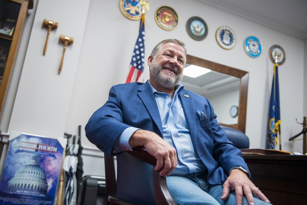 UNITED STATES - NOVEMBER 1: Rep. Bill Shuster, R-Pa., is interviewed in his Rayburn Building office on November 1, 2018. (Photo By Tom Williams/CQ Roll Call)