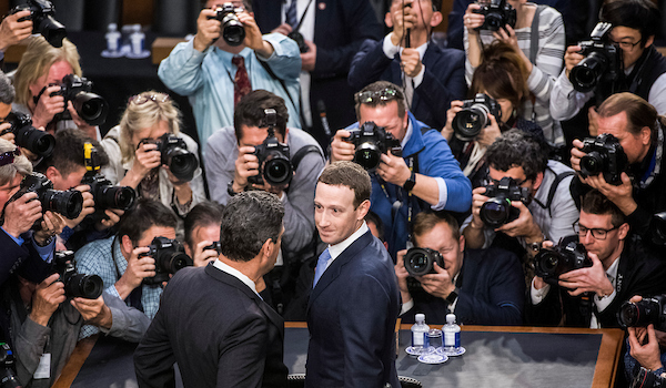 UNITED STATES - APRIL 10: Facebook CEO Mark Zuckerberg arrives to testify before a joint hearing of the Senate Judiciary and Commerce Committees on the protection of user data in Hart Building on April 10, 2018.(Photo By Tom Williams/CQ Roll Call)