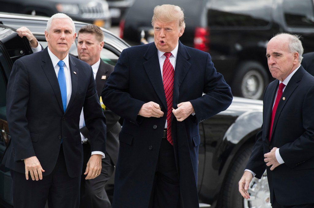 UNITED STATES - JANUARY 9: President Donald Trump and Vice President Mike Pence greet Senate Sergeant-at-Arms Michael Stenger, right, upon arriving to the Capitol to attend the Senate Republican policy luncheons on January 9, 2019. (Photo By Tom Williams/CQ Roll Call)
