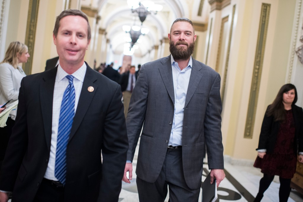 UNITED STATES - JANUARY 16: Former Washington National Jayson Werth, right, and Rep. Rodney Davis, R-Ill., are seen in the Capitol on Wednesday, January 16, 2019. Werth was on the Hill to discuss agriculture issues. (Photo By Tom Williams/CQ Roll Call)