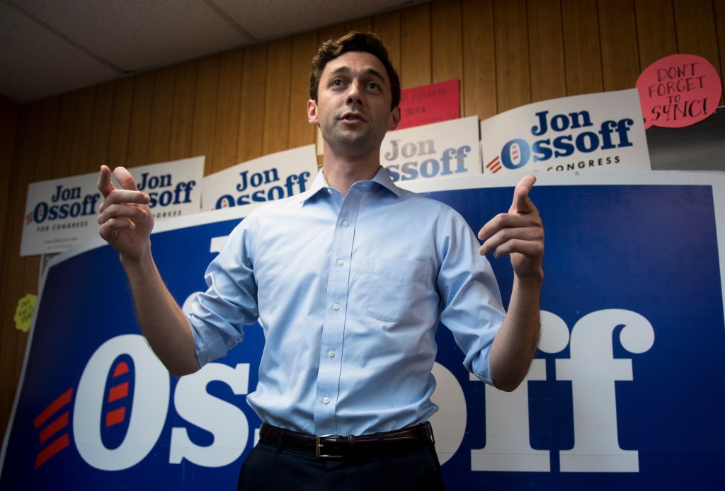 UNITED STATES - JUNE 18: Democratic candidate for Georgia's 6th Congressional district Jon Ossoff speaks to campaign workers and volunteers at his campaign office in Chamblee, Ga., on Sunday, June 18, 2017. Ossify is facing off against Republican Karen Handel in the special election to fill the seat vacated by current HHS Secretary Tom Price will be held on Tuesday. (Photo By Bill Clark/CQ Roll Call)