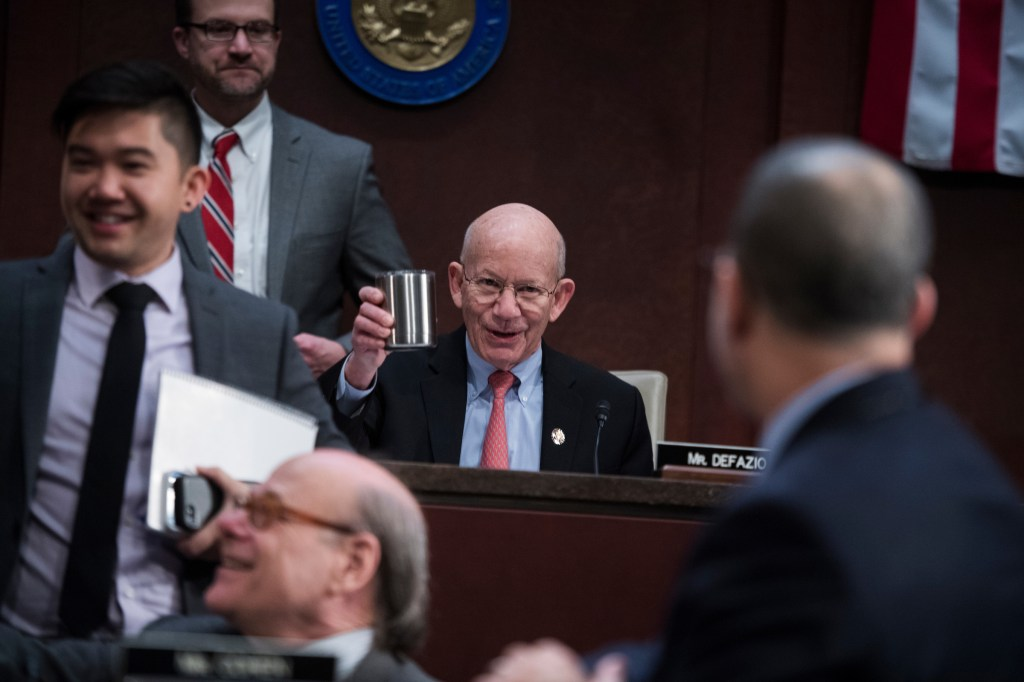 UNITED STATES - FEBRUARY 07: Chairman Peter DeFazio, D-Ore., conducts a House Transportation and Infrastructure Committee hearing in the Capitol Visitor Center titled
