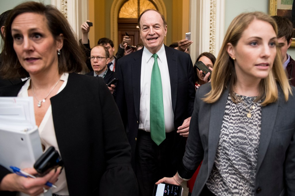 UNITED STATES - FEBRUARY 11: Reporters follow Sen. Richard Shelby, R-Ala., chairman of the Senate Appropriations Committee, as he leaves the meeting with House and Senate appropriators in an effort to revive spending talks and avert a second shutdown on Monday, Feb. 11, 2019. (Photo By Bill Clark/CQ Roll Call)