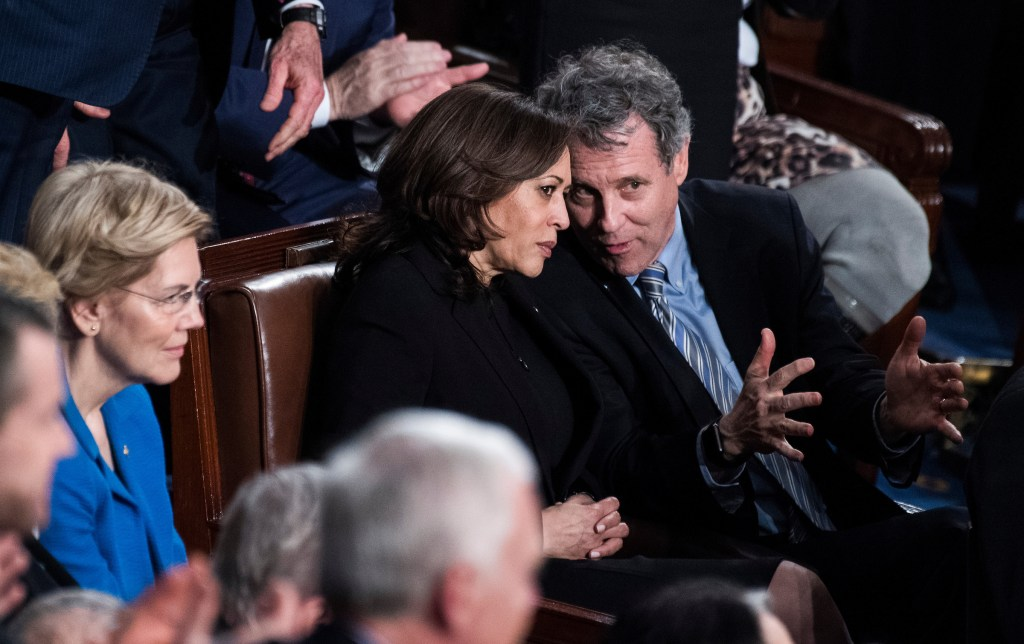 UNITED STATES - FEBRUARY 05: From left, Sens. Elizabeth Warren, D-Mass., Kamala Harris, D-Calif., and Sherrod Brown, D-Ohio, are seen in the House Chamber as President Donald Trump delivered his State of the Union address on Tuesday, February 5, 2019. (Photo By Tom Williams/CQ Roll Call)