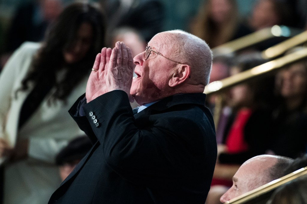 UNITED STATES - FEBRUARY 05: Judah Samet, a Holocaust and Tree of Life Synagogue shooting survivor, is recognized as the crowd sang Happy Birthday to him, during President Donald Trump's State of the Union address on Tuesday, February 5, 2019. (Photo By Tom Williams/CQ Roll Call)