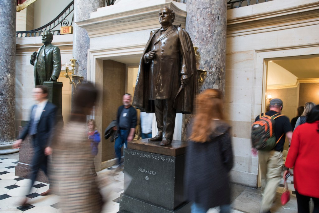 A statue of William Jennings Bryan is on display in Statuary Hall. (Tom Williams/CQ Roll Call)