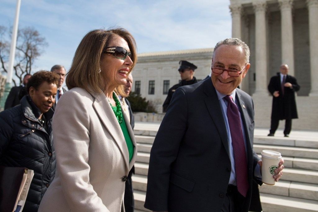 UNITED STATES - APRIL 2: Speaker Nancy Pelosi, D-Calif., and Senate Minority Leader Charles Schumer, D-N.Y., arrive to the Supreme Court for a rally with Congressional Democrats on a resolution condemning a federal court ruling overturning the Affordable Care Act on Tuesday, April 2, 2019. (Photo By Tom Williams/CQ Roll Call)