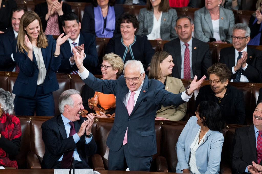 UNITED STATES - APRIL 3: Rep. Bill Pascrell, D-N.J., stands as NATO Secretary General Jens Stoltenberg mentions that his mother was born in Paterson, N.J., during a joint meeting of Congress in the Capitol's House Chamber on Wednesday, April 3, 2019. (Photo By Tom Williams/CQ Roll Call)