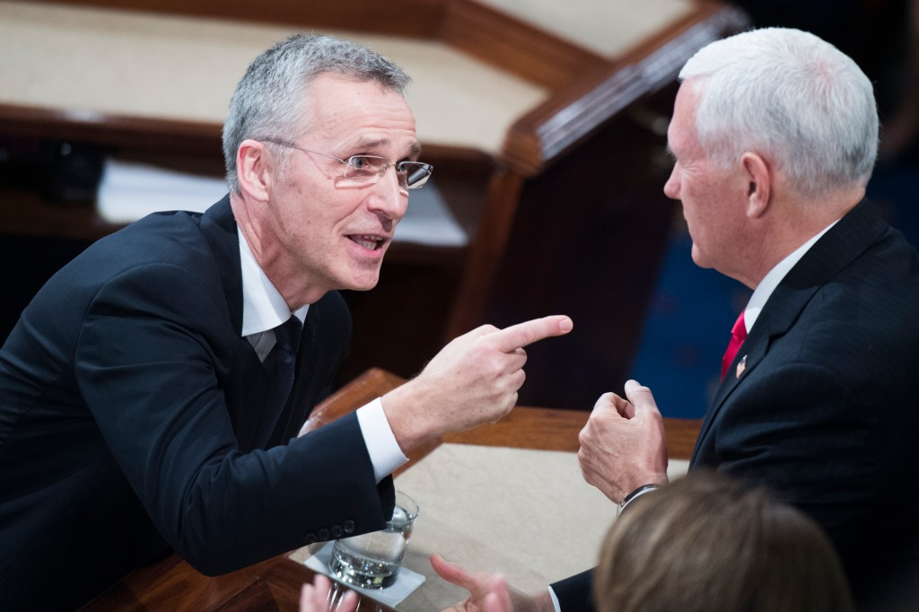 UNITED STATES - APRIL 3: NATO Secretary General Jens Stoltenberg talks with Vice President Mike Pence and Speaker Nancy Pelosi, D-Calif., after addressing a joint meeting of Congress in the Capitol's House Chamber on Wednesday, April 3, 2019. (Photo By Tom Williams/CQ Roll Call)