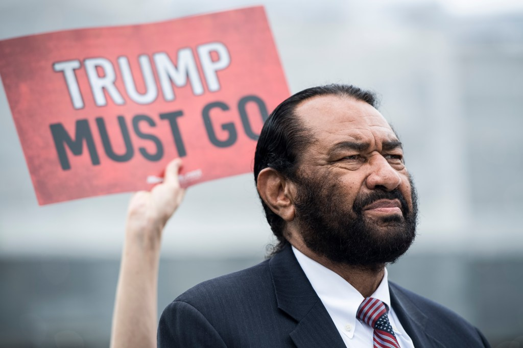 UNITED STATES - MAY 9: Rep. Al Green, D-Texas, participates in the event for coalition of advocacy groups delivering over ten million petition signatures to Congress on Thursday, May 9, 2019, urging the U.S. House of Representatives to start impeachment proceedings against Donald Trump. (Photo By Bill Clark/CQ Roll Call)