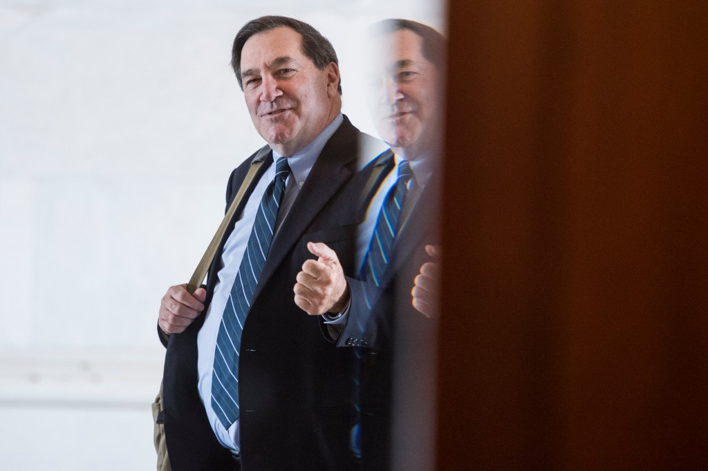 UNITED STATES - MAY 14: Former Sen. Joe Donnelly, D-Ind., is seen in the Senate carriage entrance of the Capitol on Tuesday, May 14, 2019. (Photo By Tom Williams/CQ Roll Call)