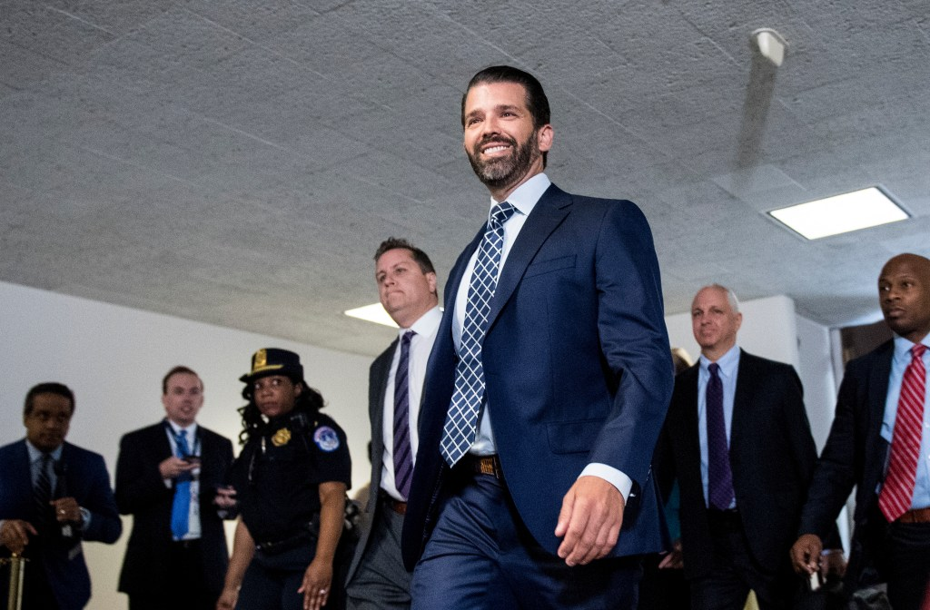 UNITED STATES - JUNE 12: Donald Trump Jr., arrives to appear before Senate Intelligence Committee in the Hart Senate Office Building on Wednesday, June 12, 2019. (Photo By Bill Clark/CQ Roll Call)