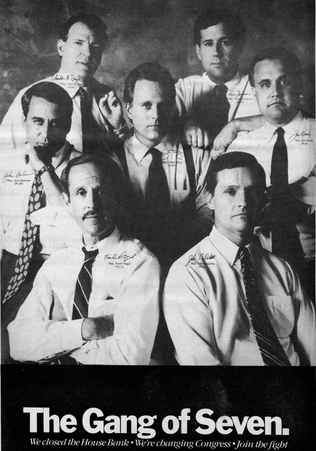 A soft-toned black and white poster of the freshman House Republicans who have come to be known as the