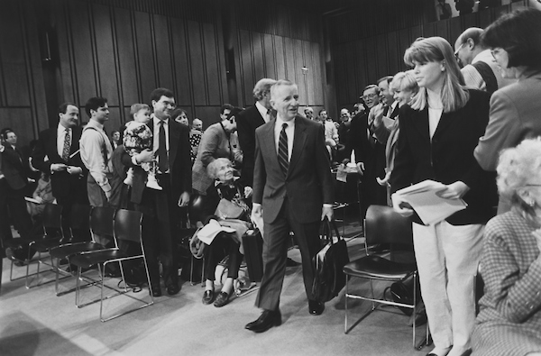Ross Perot marching in to testify before Joint Committee on Organization of Congress on March 2, 1993. (Photo by Maureen Keating/CQ Roll Call via Getty Images)