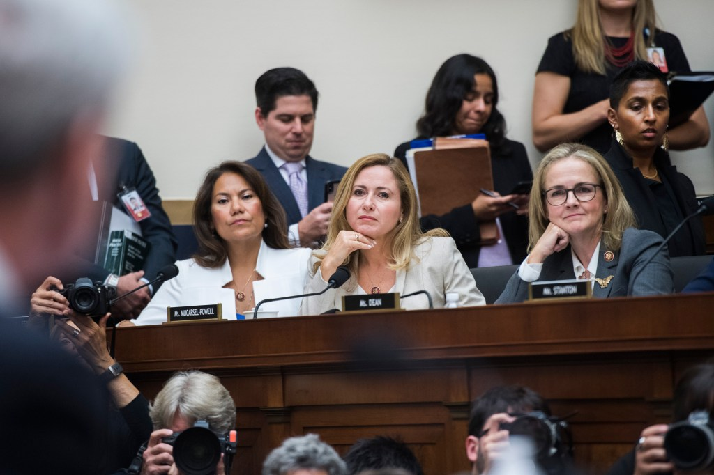UNITED STATES - JULY 24: From left, Reps. Veronica Escobar, D-Texas, Debbie Mucarsel-Powell, D-Fla., and Madeleine Dean, D-Pa., listen to former special counsel Robert Mueller, testify before the House Judiciary Committee hearing on his investigation into Russian interference in the 2016 election in Rayburn Building on Wednesday, July 24, 2019. He testified later in the day before the House Intelligence Committee. (Photo By Tom Williams/CQ Roll Call)