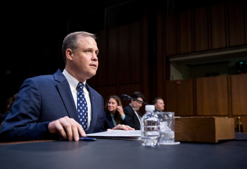 UNITED STATES - JULY 17: NASA Administrator James Bridenstine prepares to testify during the Senate Commerce, Science and Transportation Committee hearing on