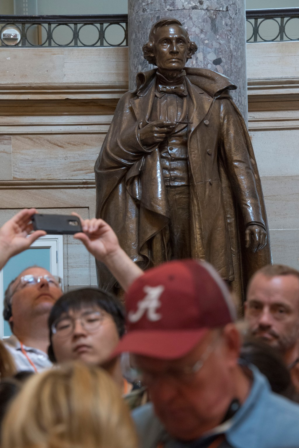 UNITED STATES - AUGUST 17: A statue of Jefferson Davis who was president of the Confederacy, is on display in the Capitol's Statuary Hall on August 17, 2017. (Photo By Tom Williams/CQ Roll Call)