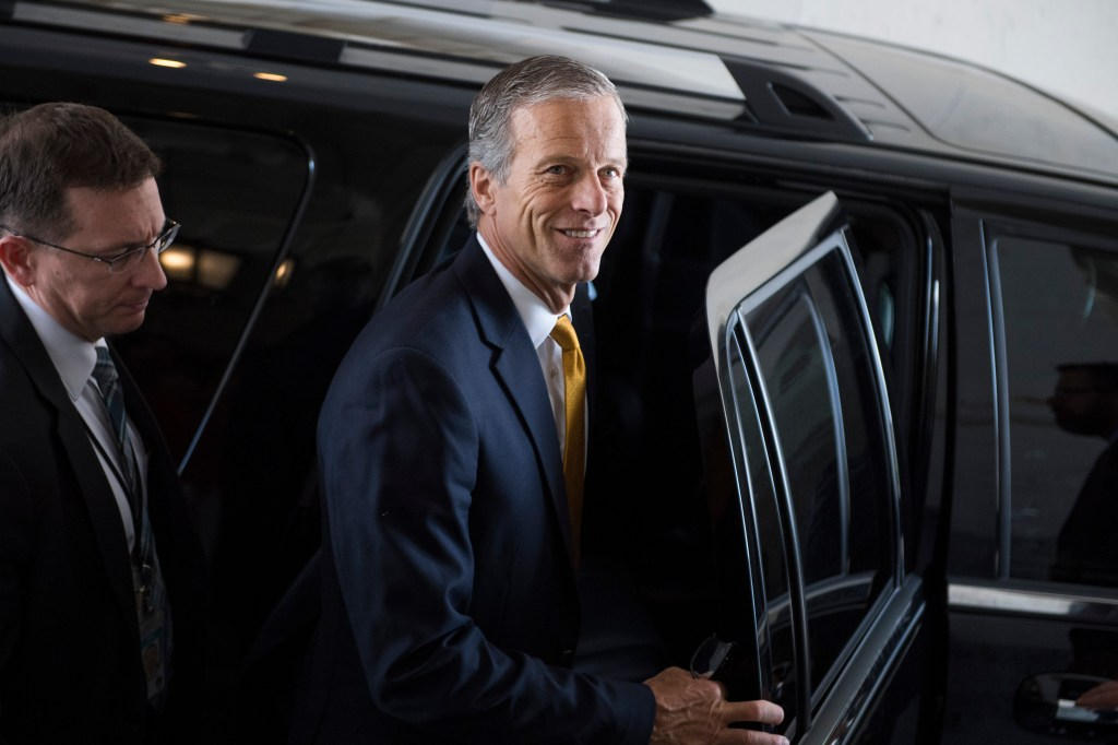 UNITED STATES - AUGUST 1: Sen. John Thune, R-S.D., leaves the Capitol after the Senate passed a two-year budget and debt ceiling bill on August 1, 2019. (Photo By Tom Williams/CQ Roll Call)