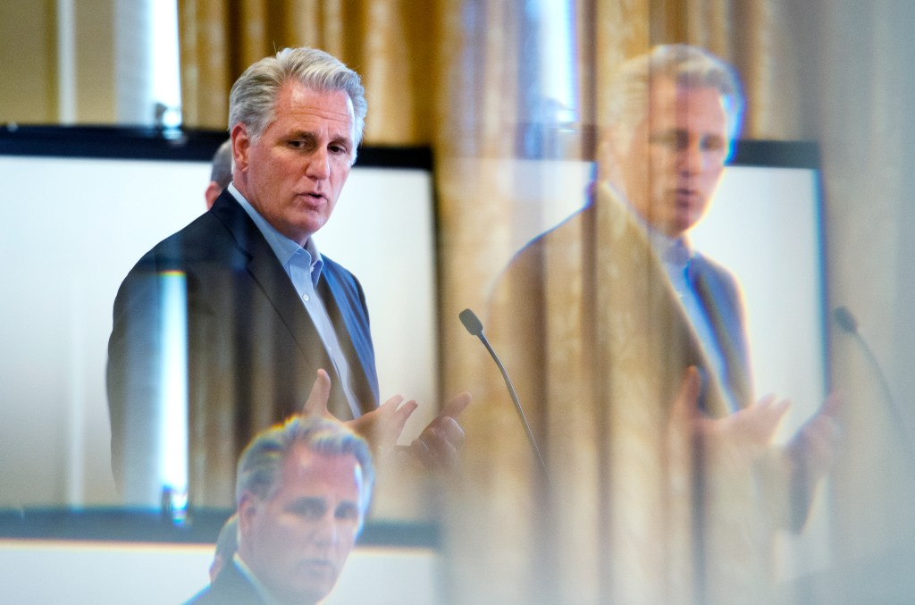 UNITED STATES - SEPTEMBER 12: House Republican leader Kevin McCarthy, R-Calif., reflected in a mirror, speaks to the media at the U.S. House Republican Member Retreat on Thursday September 12, 2019. (Photo by Caroline Brehman/CQ Roll Call)