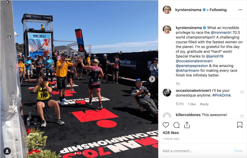 Sen. Kyrsten Sinema finishes 271st in her division at the Ironman 70.3 World Championship