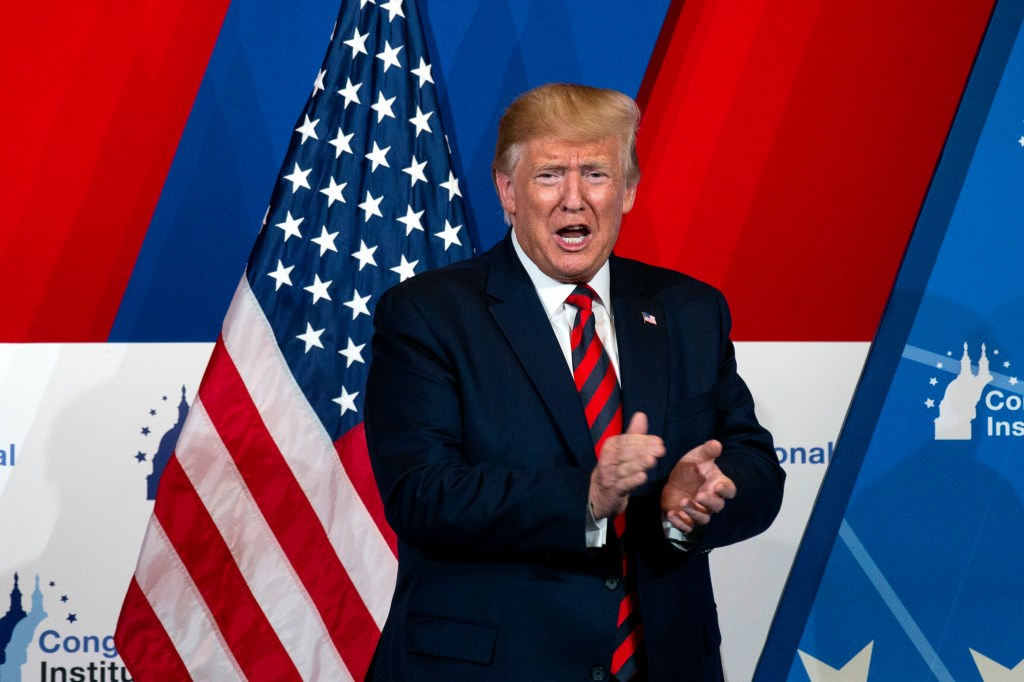 UNITED STATES - SEPTEMBER 12: President Donald Trump speaks at the 2019 House Republican Conference Member Retreat Dinner in Baltimore on Thursday September 12, 2019. (Photo by Caroline Brehman/CQ Roll Call)