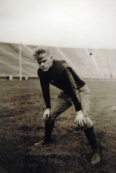 A picture of former president Gerald Ford posing on the football field at the University of Michigan in 1933, is on display at the National Archives.