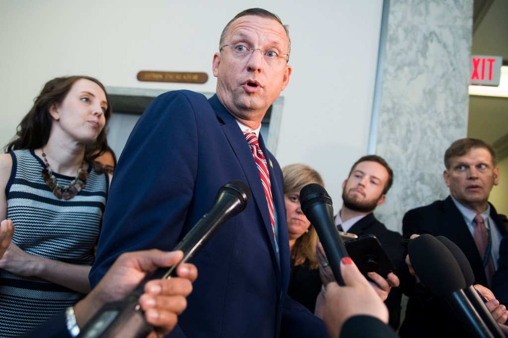 "UNITED STATES - SEPTEMBER 12: Ranking member Rep. Doug Collins, R-Ga., talks with reporters outside the House Judiciary Committee markup titled ""Resolution for Investigative Procedures,"" on September 12, 2019. (Photo By Tom Williams/CQ Roll Call)"
