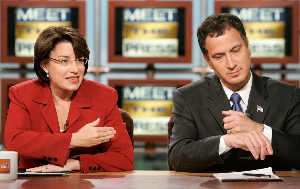 WASHINGTON - OCTOBER 15: Democratic U.S. Senate candidate Amy Klobuchar and Republican U.S. Senate candidate Rep. Mark Kennedy (R-MN) participate in a debate on